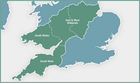 Map of the UK with WPD's 4 licence areas listed - East and West Midlands, South Wales and South West