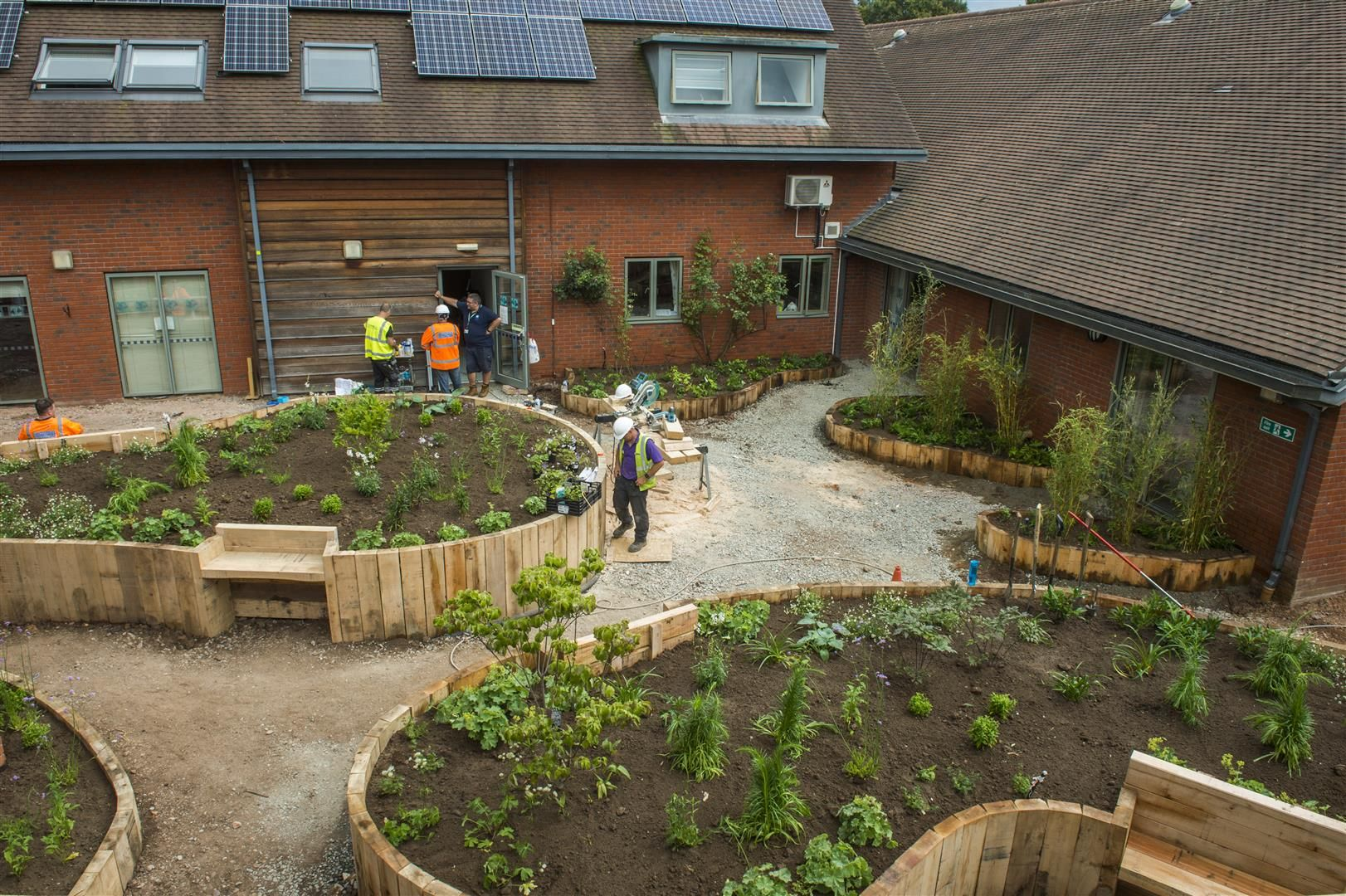 View of new garden at Worcester hospice from above