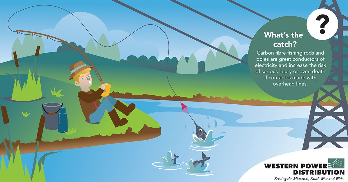 illustration of a man fishing underneath an electricity pylon