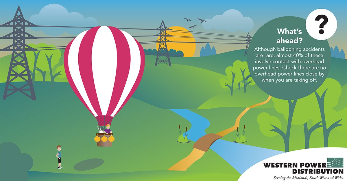 Hot air balloon flying near electricity pylons cartoon print