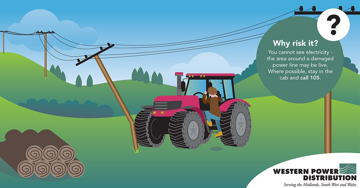 Illustration of a tractor driving into an overhead power line in a green field