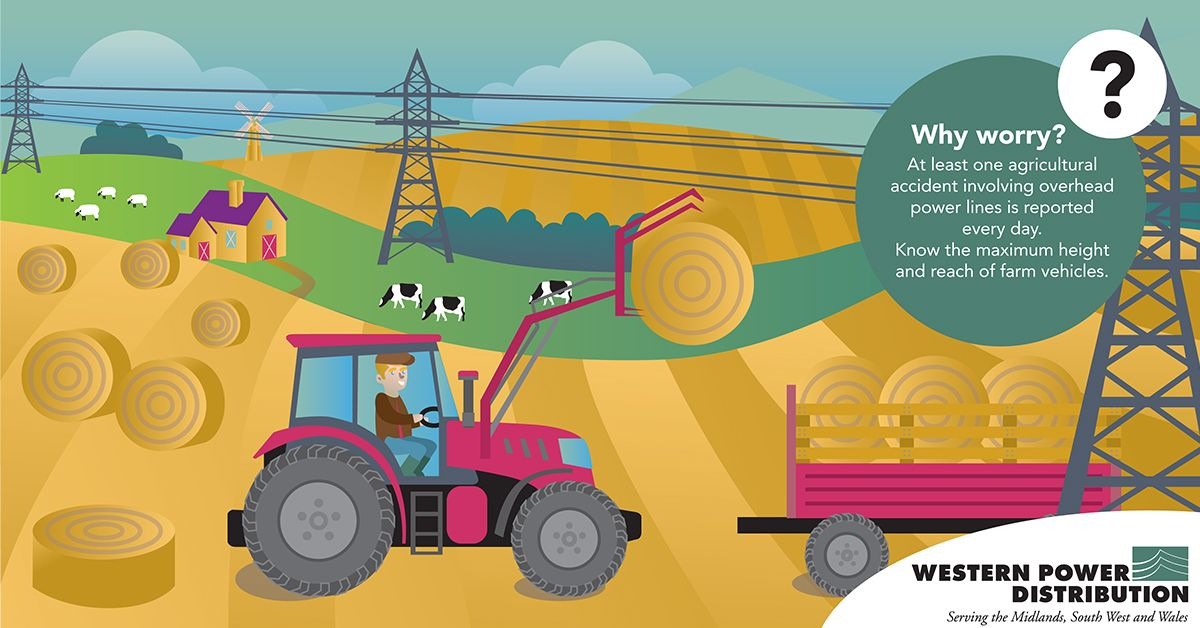 Illustration of a tractor loading bales of hay onto a cart underneath an electricity pylon
