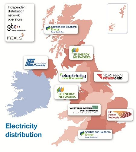 Name of Distributed Network Operators in the UK and Northern Ireland are listed below in the order they're shown on the above map, from left to right, top to bottom:  Scottish and Southern Energy; SP Energy Networks; Northern Ireland Electricity; Electricity North West; Northern Powergrid; SP Energy Networks; Western Power Distribution; UK Power Networks; Scottish and Southern Energy.